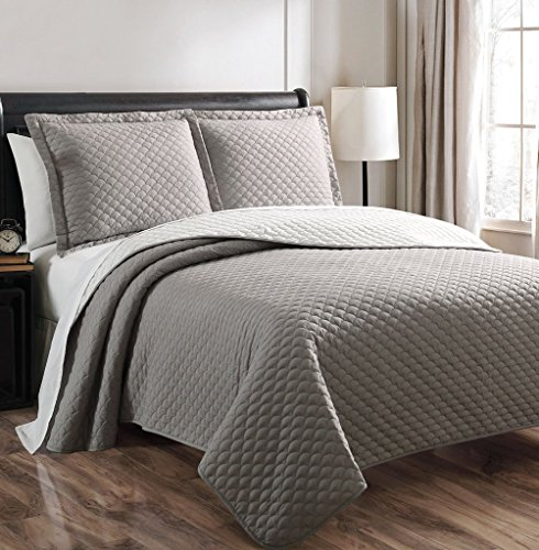 3-Piece Demi Gray White Reversible Bedspread Quilt Set Queen