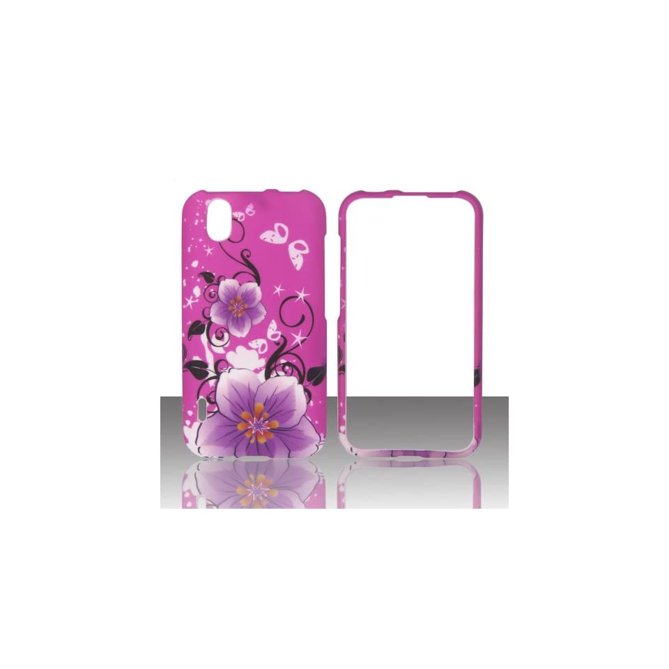 Purple Flower on Pink LG Marquee Ignite LS / US855 Boost Mobile, Sprint Case Cover Phone Snap on Cover Case Faceplates