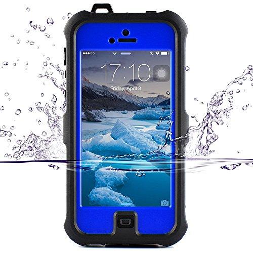ZVE iphone se ケース、iphone5s/se/5c 用ケース アイフォン5sケース 防水 防塵 耐衝撃カバー 液晶保護フィルムを付き (iphone5S/SE/5c ブルー)
