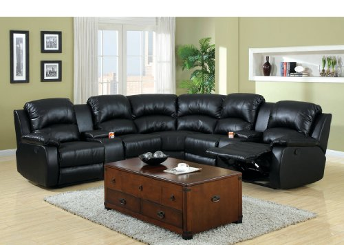 Where to buy 3 pc Wolcott Contemporary black Bonded Leather ...