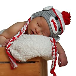 Melondipity Sweet Sock Monkey with Braids Baby Hat Grey and Red 0-6 Months