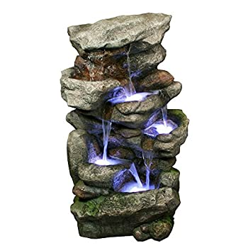 Bear Creek Waterfall Fountain - Towering Rock Outdoor Water Feature for Gardens & Patios. Hand-crafted Weather Resistant Resin. LED Lights & Pump Included.