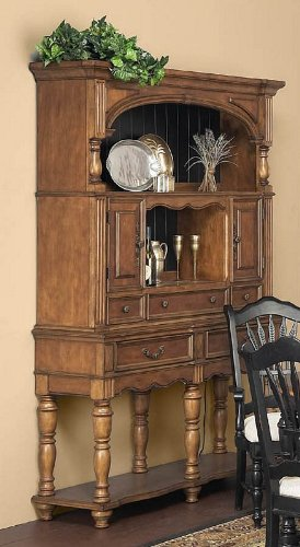 Cheap Hutch and Sideboard with Turned Legs Design in Caramel Finish (VF_AP-149-23-24)