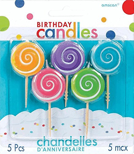 Amscan Lollipop Toothpick Birthday Candle Set, Multicolor - 1