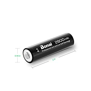 Bonai 4 Packs 2800mAh AA Rechargeable Batteries 1.2V Ni-MH Low Self Discharge - UL Certificate