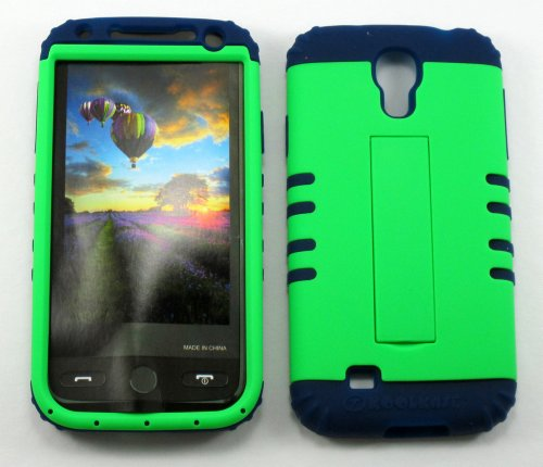 Shockproof Hybrid Cell Phone Cover Protector Faceplate Hard Case And Dark Blue Skin With Mini Stylus Pen. Kool Kase Rocker For Samsung Galaxy S4 Siv I9500 Neon Lime Green Db-A006-Pd