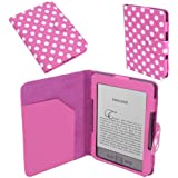 Pink / Rose White POLKA DOT Spot Luxury Premium PU LEATHER CASE Bag COVER WALLET PROTECTOR FOR 6