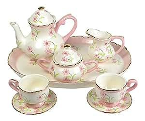 children 39 s porcelain miniature tea set for two pretty in pink girls toys games. Black Bedroom Furniture Sets. Home Design Ideas