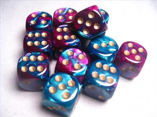 Chessex Dice d6 Sets: Gemini Purple & Teal with Gold - 16mm Six Sided Die (12) Block of Dice