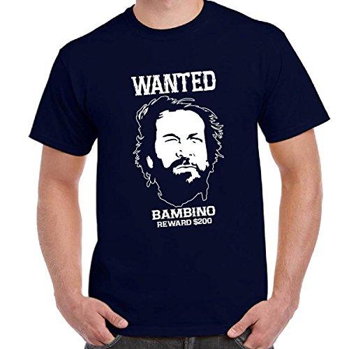 T-Shirt Divertente Scura Bud Spencer e Terence Maglietta Film Trinità Wanted, Colore: Navy, Taglia: L