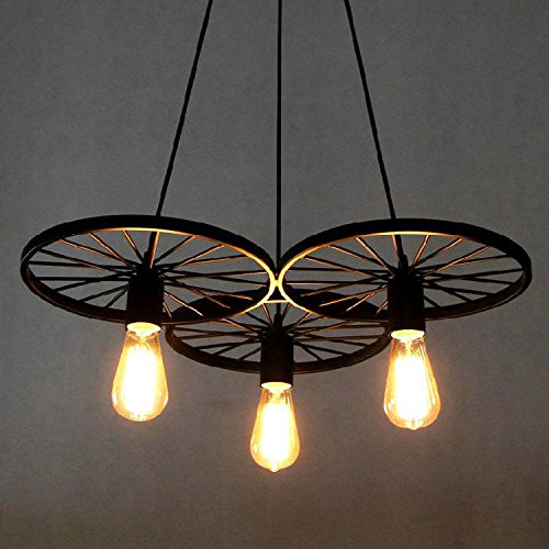 BAYCHEER Loft Stair Style Wheel Pendant Lights Hanging Vintage Lamp Black  Iron E27 Edison Bulbs Indoor Home Lighting Fixtures