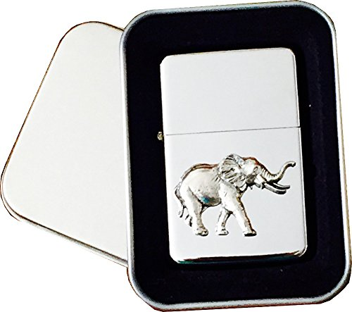 Chrome Star Lighter with Pewter Elephant Emblem, Complete with Metal Gift Tin