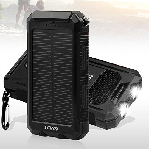 Solar Charger, Levin 10000mAh LED Emergency Light Dual USB Port Solar Panel Portable Charger Rainproof Multiple Security Protection for iPhone, iPad, iPod, Cell Phone, Tablet, Camera (Pure Black)