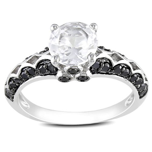Sterling Silver 1 3/8 CT TGW Created White Sapphire 2/5 CT TDW Round Black Diamond Fashion Ring