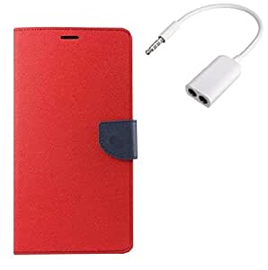 YGS Premium Diary Wallet Mobile Case Cover For Apple iPhone 5s/5g-Red with Audio Splitter
