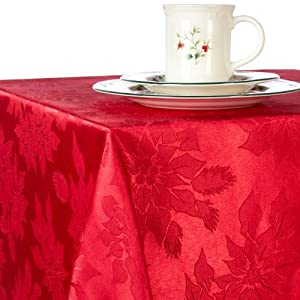 Amazon.com - Benson Mills Poinsettia Jacquard Tablecloth ...