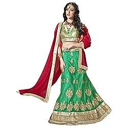 Triveni Net Lehenga Choli (TSSATAL5105_Green)