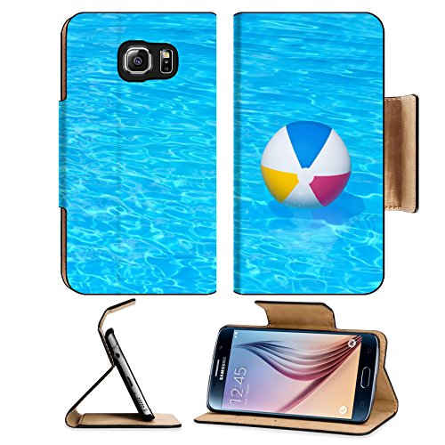MSD Samsung Galaxy S6 Flip Pu Leather Wallet Case Inflatable colorful ball floating in a swimming pool IMAGE 24181082