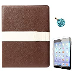 DMG Lishen Smart Case Cover for Apple iPad 2/3/4 (Brown) + 3.5mm Dust Jack + Matte Screen