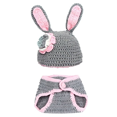 SMARSTAR Cute Rabbit Infant Newborn Crochet Beanie Hat Clothes Baby Photograph Props