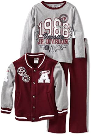 Little Rebels Little Boys' 3 Piece 1986 Jr Varsity Division Jacket Set, Wine, 2T