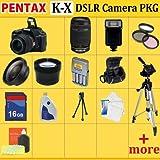 Pentax K-x Digital SLR Camera Kit (Black), with