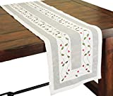 Xia Home Fashions Classic Holly Embroidered Cutwork Christmas Table Runner, 15-Inch by 54-Inch