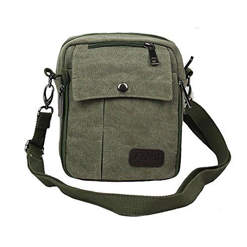 Neu Herren Damen Vintage Canvas Schultertasche Schultasche für Outdoor Canvas Leder Umhängetaschen Vintag Tasche Canvas Rucksack (Armee-Grün)