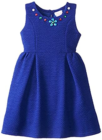 Youngland Little Girls' Textured Knit Fashion Dress with Jewels, Blue, 6X