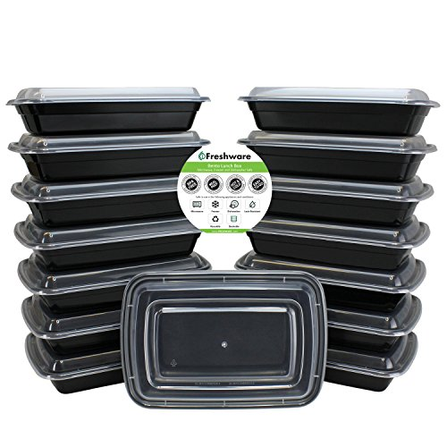 Freshware 15-Pack 1 Compartment Bento Lunch Boxes with Lids - Stackable, Reusable, Microwave, Dishwasher & Freezer Safe - Meal Prep, Portion Control, 21 Day Fix & Food Storage Containers (28oz) (Vegetable Cooler compare prices)