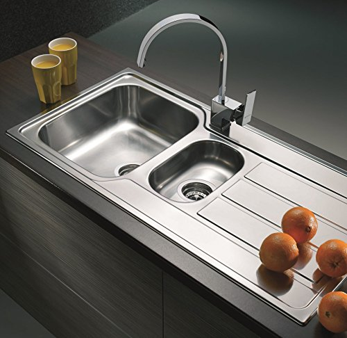 Mistral Polished Stainless steel kitchen sink (1.5 Bowl  1000x500)