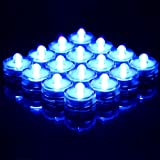LED-Cube® Led Submersible Waterproof Wedding Floral Decoration Party Tea Light (24, blue)
