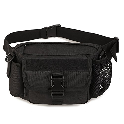 buy Multi functional Waist Pack, WOTOW Military Single Shoulder Hip Belt Bag Fanny Packs Water Resistant Waist Bag Pouch Hiking Climbing Outdoor Bumbag with Water Bottle Pocket Holder (Black) for sale
