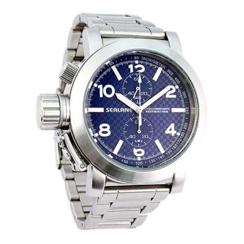 [シーレーン]SEALANE 腕時計 10BAR クロノグラフ メタル SE06-BL メンズ