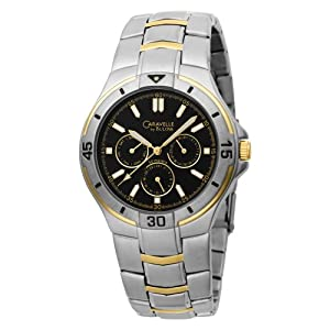 Caravelle by Bulova Men's 45C20 Stainless Steel Bracelet Black Dial Watch