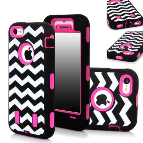 >>  KINGCO 3in1 New Chevron Wave Design Armored Hybrid PC & Silicone Case Combo for Apple iPhone 5C (Hot Pink)