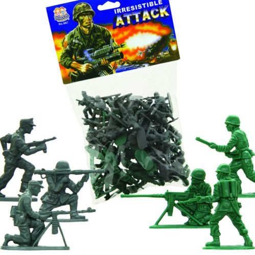 Buy WWII Plastic Soldier set with 48 Troops! Green American & Gray German 56mm 1/32nd Soldier Figures