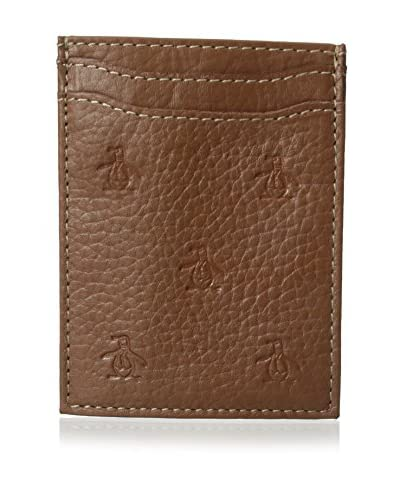 Original Penguin Men's Repeat Deboss Front Pocket Wallet, English Tan