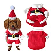 NACOCO Pet Christmas Costumes Dog Suit with Cap Santa Suit Dog Hoodies (Small)