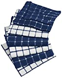 """DII Cotton Terry Windowpane Dish Cloths, 12 x 12"""" Set of 6, Machine Washable and Ultra Absorbent Kitchen Bar Towels-Nautical Blue"""