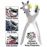 Roto Punch Complete Home Mending Solution, Leather Hole Punch Tool - Bonus 75 Eyelet & Snap Fasteners