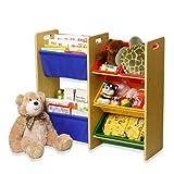 [おかたづけ上手] おもちゃ箱3段+絵本ラック 5808H ヴィヴィッド「大好きおもちゃと絵本を楽しくおかたづけ」