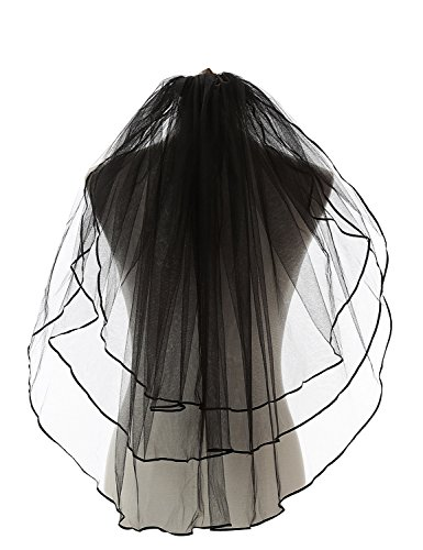 ElieHouse Women's 3 Tiers Ribbon Edge Finger Tip Wedding Bridal Veil Black E54BK