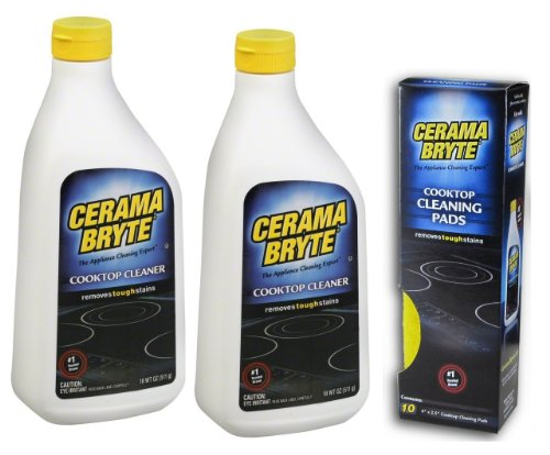 (2 Pack) Cerama Bryte Cooktop Cleaner, 18 Oz. + 10 Cooktop Cleaning Pads