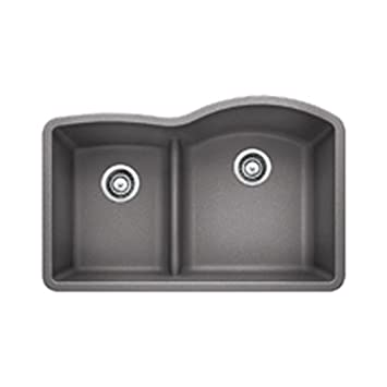 Blanco 441601 Diamond 1.75 Low Divide Under Mount Reverse Kitchen Sink, Large, Metallic Gray