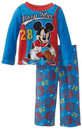 Mickey Mouse Little Boys' Toddler Cozy Fleece Pajama Set, Blue, 2T