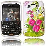 Printed Gel Case Cover Skin For Blackberry 9700 9780 Bold / Pink Flowers Design