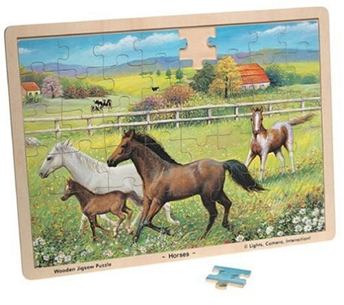 Wooden Horses 48 Piece Jigsaw Puzzle