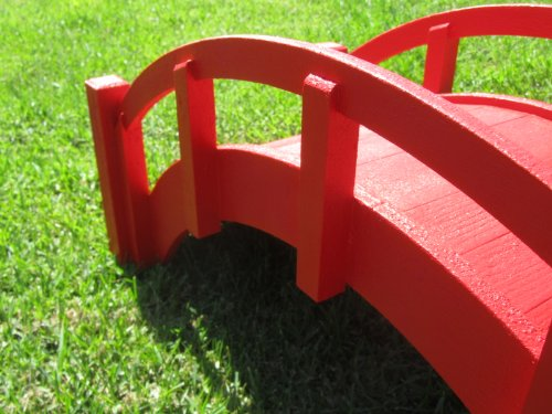 Samsgazebos miniature japanese wood garden bridge red for Japanese wooden garden structures