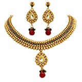 Unicorn's Traditional Gold Plated Ethnic Necklace Set with Dangle Earrings - UETMPL012PRG